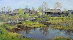 """Andrey Shirokov  Landscape With Bridge  Oil on canvas  20"""" X 36""""  (50 X 90 Cm)  $2400    For more information about this artist visit www.silvanagallery.comSee More"""