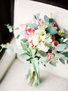 Hand-tied Bouquet by the Bride | See the wedding on SMP: http://www.StyleMePretty.com/2014/03/18/elegant-aspen-wedding-with-boho-flair/ Sarah Joelle Photography