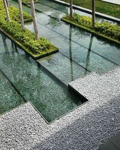 Water feature and gravel edging #residentiallandscapearchitecture
