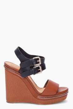 chloe  black and brown wedges
