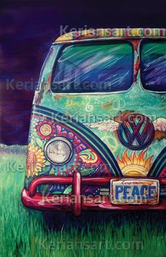 Peacemobile is a painting I created last year for the Art of Peace Art Festival. She hung in the Tyler Museum of Art for the 2014 Art of Peace Art exh. Paz Hippie, Estilo Hippie, Hippie Peace, Happy Hippie, Hippie Style, Kombi Hippie, Hippy Art, Peace Art, Canvas Art