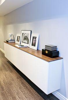 Fauxdenza, basement hallway storage, floating credenza, two-tone credenza, mid century modern style, hallway credenza