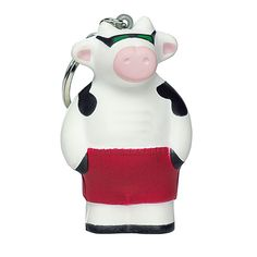Cool cow shaped stress reliever with key holder helps put your customers stress out to pasture on the go! This is a fun giveaway at any event and can work for any business and organization! This super udder-ly cool stress reliever with your logo can be seen when customers attach these to key chains, purses, and backpacks! Products are not intended for use by children or pets