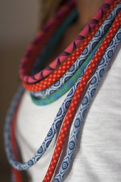 lightweight statement necklaces made from african shweshwe fabric