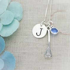 Sterling Silver Lacrosse, Field Hockey or Tennis Hand Stamped Initial Necklace and Birthstone