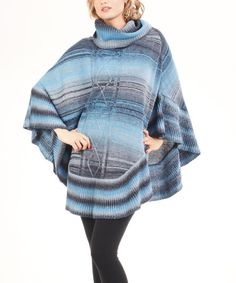 Blue & Gray Cowl Neck Knit Poncho by Bacci #zulily #zulilyfinds  Love this!!