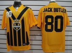 Men s Pittsburgh Steelers  80 Jack Butler 1933 Yellow Throwback Jersey  Pittsburgh Steelers Jerseys 88d4b5dcf