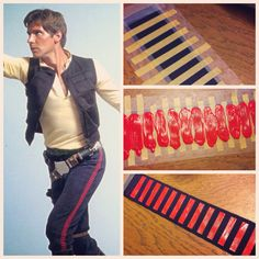 How to make Han Solo Corellian Bloodstripe // red dimensional fabric paint on masked navy ribbon, use fabric tape to adhere to running tights (since tights stretch, do it after tights are on) // WDW Marathon 2014 // Dopey Challenge // runDisney // Running Costume
