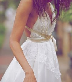 Dress- gold, lace, flow strans bottom, take off bottom for dancing, turns to cocktail dress?
