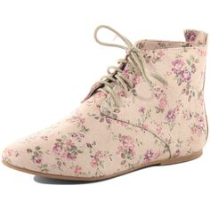 Pink floral print boots ($39) ❤ liked on Polyvore featuring shoes, boots, ankle booties, flats, sapatos, women, lace up booties, lace up flats, floral flats and flat lace up ankle booties