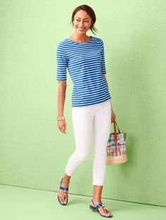 A nautical-inspired stripe makes this tee a must-have this season! Wear with jeans, slacks or a skirt - the possibilities are endless. | Talbots