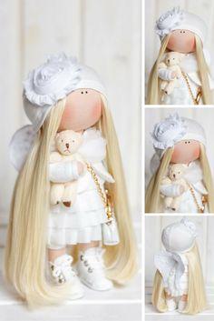 Angel doll Fabric doll Interior doll Handmade doll Textile doll Tilda doll White doll Rag doll Baby doll Art doll Winter doll