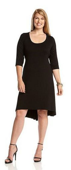 3/4 SLEEVE BLACK HI LO DRESS An updated basic. A scoop neck and 3/4 sleeves are fashion mainstays while a high low hem offers a hint of modern detail for an exciting twist. Travels well.