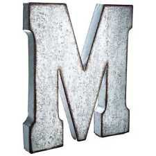 Put a vintage-inspired spin on monogram letters using this stylish Large Galvanized Metal Letter - M! This oversized hollow metal letter features a distressed-edged galvanized metal finish and a stunn Metal Letters Hobby Lobby, Large Metal Letters, Metal Wall Letters, Rustic Letters, Letter Wall Decor, Wooden Letters, Man Cave And Workshop, Baby Name Letters, Monogram Letters