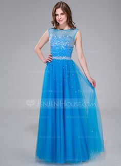 Prom Dresses - $162.99 - A-Line/Princess Scoop Neck Floor-Length Chiffon Tulle Prom Dress With Beading Sequins (017041113) http://jenjenhouse.com/A-Line-Princess-Scoop-Neck-Floor-Length-Chiffon-Tulle-Prom-Dress-With-Beading-Sequins-017041113-g41113?ver=1