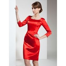 Sheath/Column Square Neckline Knee-Length Beading Zipper Up Sleeves Sleeves No Red Winter Spring Summer General Plus Charmeuse Cocktail Dress Red Satin Dress, Satin Gown, Satin Dresses, Modest Dresses, Cute Dresses, Formal Dresses, Dresses For Work, Dress Skirt, Bodycon Dress