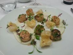 Scallops and pork scratchings