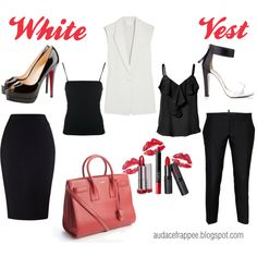 """The white vest"" Working Girl Summer Outfit by alnmag on Polyvore"