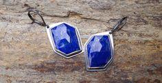 ForestBook via Etsy.  Metalwork, one of a kind lapis lazuli earrings. Geometric. Modern.