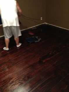 """Plywood floors! 8"""" wide planks cut by the helpful dudes at Lowes, sanded, stained with red mahogany, then poly'd. Thank you Pinterest!"""