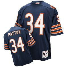 $109.99 Mitchell And Ness Chicago Bears #34 Wlter Payton Blue Authentic Throwback Jersey