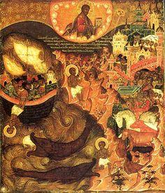 Prophet Jonah - Orthodox Church in America Byzantine Icons, Byzantine Art, Religious Icons, Religious Art, La Résurrection Du Christ, Prophet Jonah, Jonah And The Whale, Biblical Art, Angels