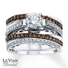 LeVian Chocolate Diamonds 1 1/3 ct tw Bridal Set 14K Gold