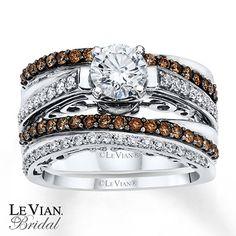 LeVian Chocolate Diamonds 1 1/3 ct tw Bridal Set 14K Gold