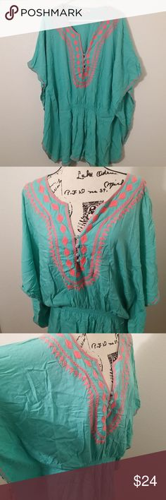 "size XL Raviya turquoise top or pool cover up Raviya embroidered top or pool cover up. loose fitting with elastic waist wide batwing sleeve. hand wash only. 100% rayon. turquoise blue with coral pink embroidered detail.   Size XL - 30"" long   See photos for details. Smoke free, pet friendly home.   Please message me with any questions. Ask if additional size detail is needed.   15% discount for 3+ item bundles. Check out my closet. Happy Poshing!  699/CT Raviya Tops"