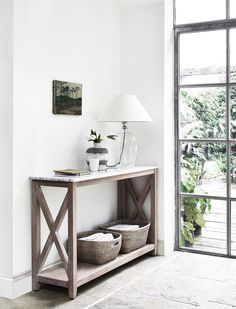 Home Hallway decor. Herston console table by Neptune. Shaftesbury table lamp and Ashcroft baskets A Hallway Table Decor, Hallway Decorating, Decorating Your Home, Hallway Console Table, Small Hallway Table, Hallway Furniture, Decorate Console Tables, Hallway Entrance Ideas, Narrow Hall Table