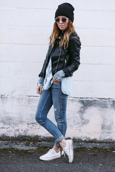 a few random things - Shoes: Converse, Jeans: H&M, Chambray top: F21, Jacket: H&M, Undershirt: c/o Free People, Sunglasses: H&M, Hat: ASOS