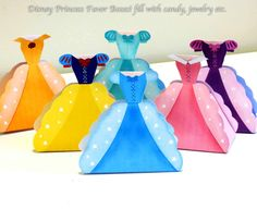 Disney Princess Party 6 PACK Favors, Printable INSTANT DOWNLOAD , Cinderella, Snow white, Rapunzel, Sleeping Beauty, Belle, and Ariel