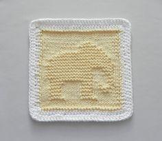 Baby Wash Cloth ELEPHANT Knit Dishcloth Yellow by AuntSusansCloset