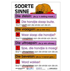 Soorte Sinne Kaart 320 x en gelamineerd. Product code: A-SSIN Quotes Dream, Life Quotes Love, Teaching Posters, Teaching Aids, Robert Kiyosaki, Napoleon Hill, Tony Robbins, Afrikaans Language, Types Of Sentences
