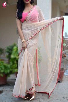 Buy Cream Net Embroidered Saree - Women Sarees Online in India - Party Wear Sarees - Sarees Net Saree Designs, Silk Saree Blouse Designs, Fancy Blouse Designs, Trendy Sarees, Stylish Sarees, Fancy Sarees, Simple Sarees, Sari Dress, The Dress