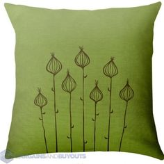 """Paper Cloud Onionpods Hand Printed 16"""" x 16"""" Pillow - Chocolate on Green"""