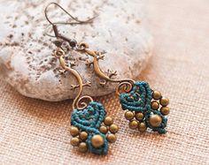 Bohemian black earrings micromacrame earrings by OuiClementine