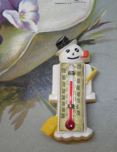 1940 Novelty Plastic Snowman w/ Thermometer by CornermouseHouse. SO Cute I bought it for myself to add to my hard plastic collection!!!