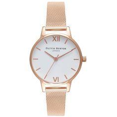 Olivia Burton Midi White Dial Mesh Watch - Rose Gold ($110) ❤ liked on Polyvore featuring jewelry, watches, rose gold, olivia burton, white faced watches, quartz movement watches, rose gold jewellery and white dial watches