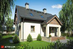 Dom z poddaszem użytkowym, dużą kotłownią i lukarną. Samba, Atrium, Home Fashion, House Plans, Houses, Mansions, Studio, House Styles, Diy