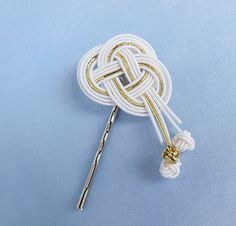 White Gold Bobby Pin, Hair Accessory, Cord Hair Clip, Japanese Mizuhiki Rice Cord, Silk Cord, Knot, Bridal Wedding