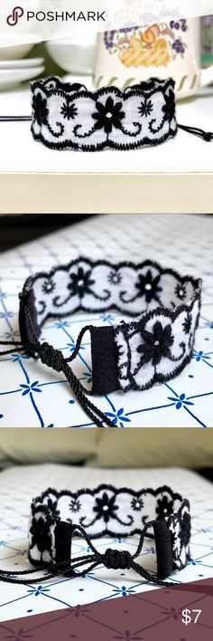 Floral Embroidered Trim Bracelet Bundle for 10% off + FREE Bracelet   •This delicate black & white cotton trim lace w/ black embroidered flowers is finished with a nylon thread closure knot for a secure fit. Lovely vintage style!  •Trim width is 1 inch (100% cotton)   •ⓢⓘⓩⓔ: Adjustable knot! (Fits 5 inches to 8.5 inches)  •Coachella/rock/edc/raves/Friendship/Weaved/Gypsy/Bohemian/Rocker/Rockabilly/Psychobilly/50s/Fifties/Gothic/Goth/Dark/steampunk/pastel/90s/chic/Bavarian/Renaissance…