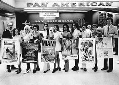 """Pan American Airlines employees with Miami posters, 1960. Our trips, at one point, were LAX/MIA/EZE... """"With Love, The Argentina Family~Memories of Tango and Kugel; Mate with Knishes""""- Available on Amazon"""