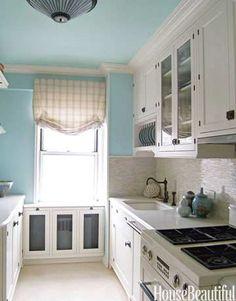 Popular Kitchen Paint and Cabinet Colors - Colorful Kitchen Pictures - House Beautiful Kitchen Redo, Kitchen Design, Kitchen Ideas, Aqua Kitchen, Space Kitchen, Narrow Kitchen, Kitchen White, Kitchen Layout, Country Kitchen