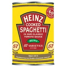 Like Marmite, Heinz are celebrating the Jubilee through design. This limited edition run of baked beans and cooked spaghetti revives packaging designs from 1952.