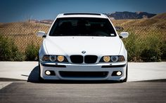 Indir duvar kağıdı 5 BMW, E39, tuning, sedan, Beyaz E39, önden görünüm, Alman otomobil, BMW