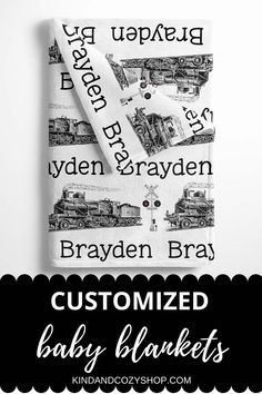 Create a personalized train baby blanket for baby or big kids! Shop more on our Etsy shop! Baby Blanket Size, Baby Boy Blankets, Blanket Sizes, Star Blanket, Personalized Baby Blankets, Baby Boy Nurseries, One Sided, Nursery Ideas, Baby Names