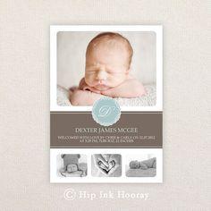 Geburtsanzeige für jungen Foto. Blau und Chocolate. Ich