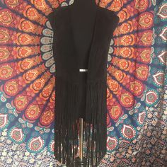 GENUINE SUEDE FRINGE VEST  Perfect for any festival going gal! ✌ Genuine suede. Worn once. ✨ Jackets & Coats Vests