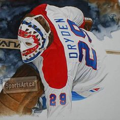"""""""I am a big fan of Ken Dryden and the honourable way he has handled his retirement and career after hockey. I was blown away when Glen Green showed me this beautiful new painting. I love the lost edges he has used. Hockey Goalie, Hockey Players, Ice Hockey, Montreal Canadiens, Hockey Highlights, Ken Dryden, Canada Hockey, Sports Painting, Goalie Mask"""